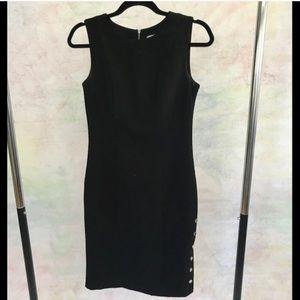 Calvin Klein Black Button Accent Pencil Dress